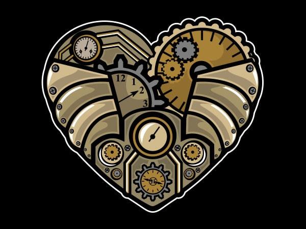 Steampunk Heart Vector t-shirt design