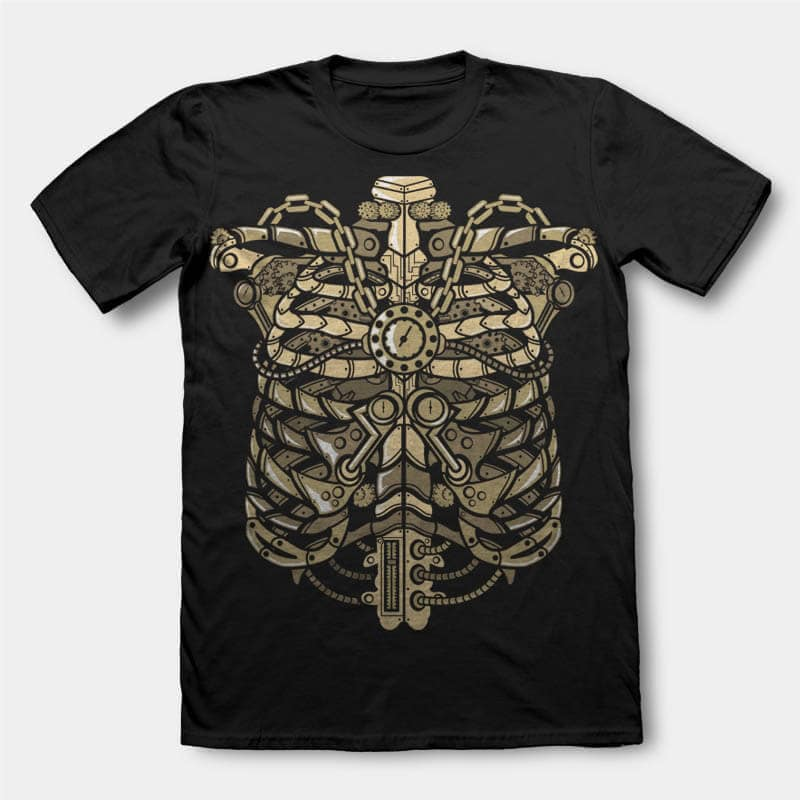 Steampunk Ribcage Graphic t-shirt design t shirt design graphic
