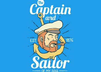 The Captain and Sailor Graphic t-shirt design