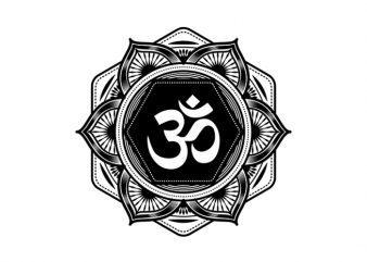 Mandala Om Symbol #2 t shirt designs for sale