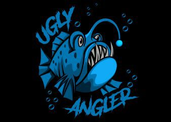 Angler fish ugly T-Shirt design vector illustration