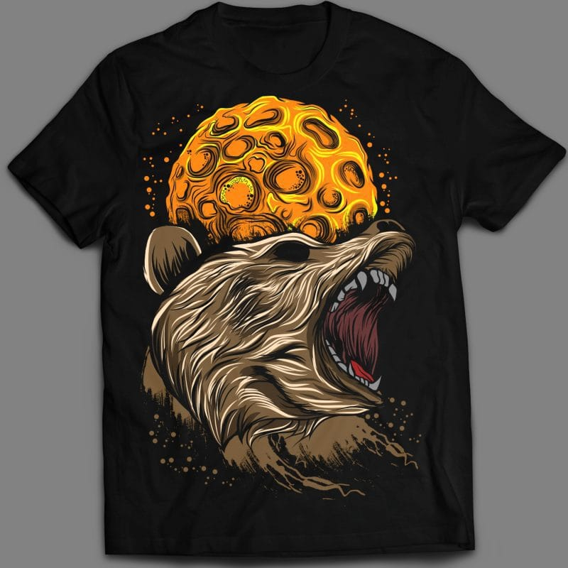 Angry Bear T-shirt vector template t shirt designs for merch teespring and printful