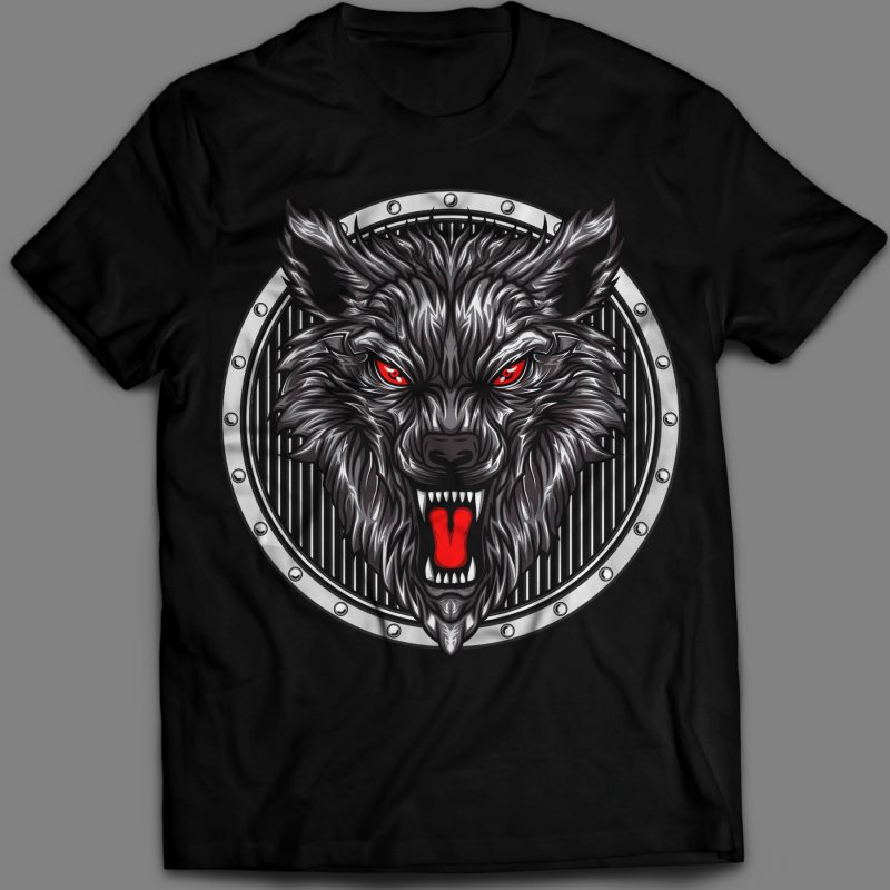 angry wolf head in circle ornament t-shirt vector illustration t shirt designs for printful