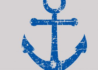 DIstressed Anchor Cool Vector t shirt design for sale