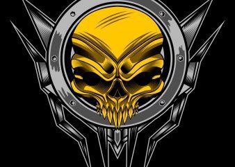 Gold skull T-shirt design template vector illustration