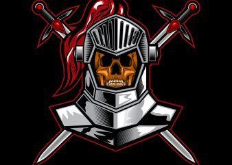 knight skull T-shirt template vector illustration art