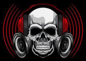 Music skull t-shirt design vector illustration