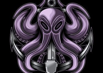 octopus and anchor vector illustration t-shirt template