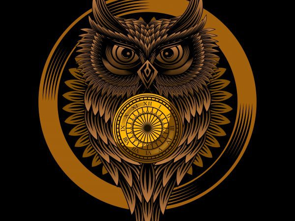 Owl clock T-shirt design vector illustration