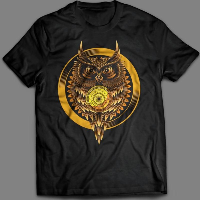 Owl clock T-shirt design vector illustration vector t shirt design
