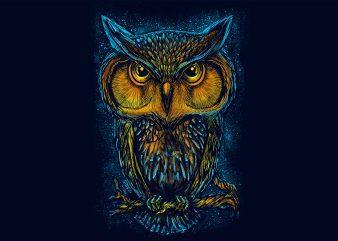 owl night light full print t shirt design online