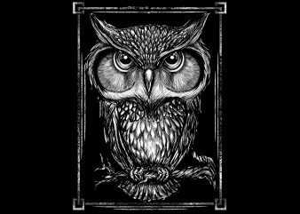 owl white illustrator graphic t-shirt design