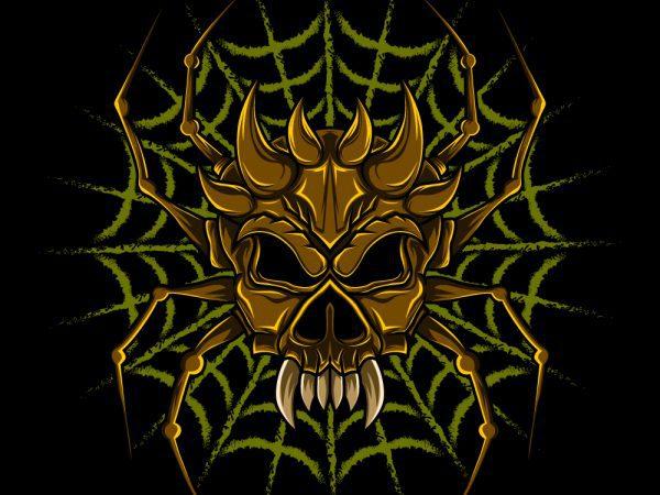spider skull Web T-shirt design vector art