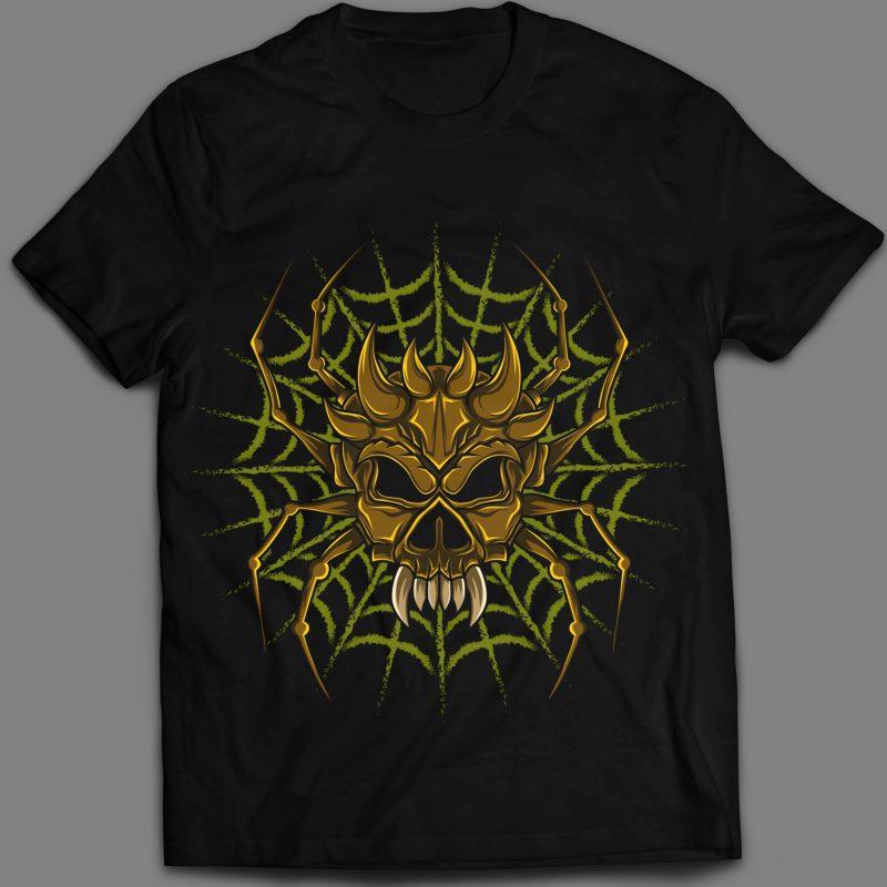 spider skull Web T-shirt design vector art t shirt designs for merch teespring and printful