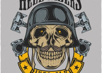 Hell riders biker club. Vector T-Shirt Design