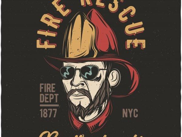 Fire rescue brotherhood. Vector T-Shirt Design