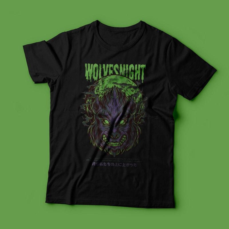 Wolves Night T-Shirt Design t shirt designs for teespring