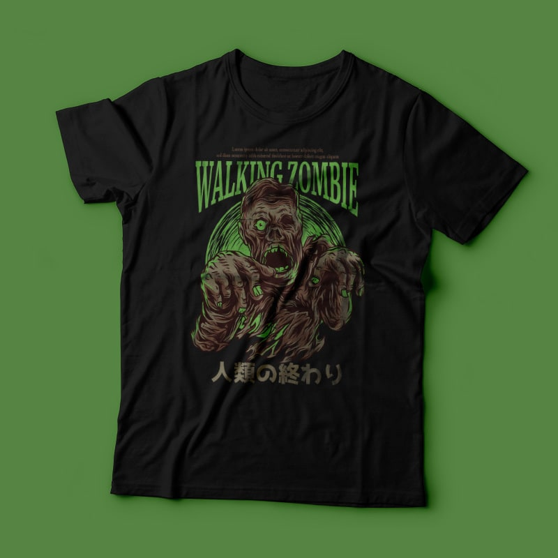 Walking Zombie T-Shirt Design tshirt-factory.com