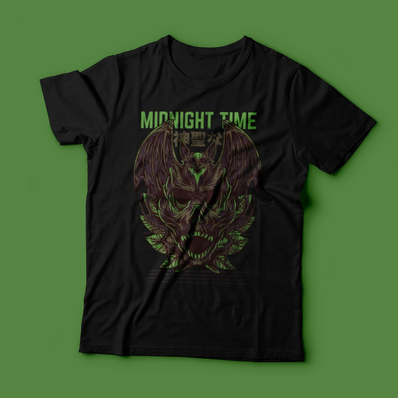 Midnight Time T-Shirt Design tshirt-factory.com