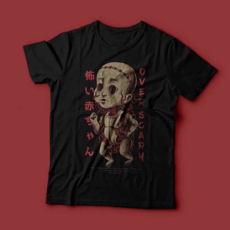 Over Scary T-Shirt Design tshirt-factory.com