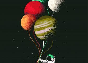 Astronaut Balloons t shirt vector