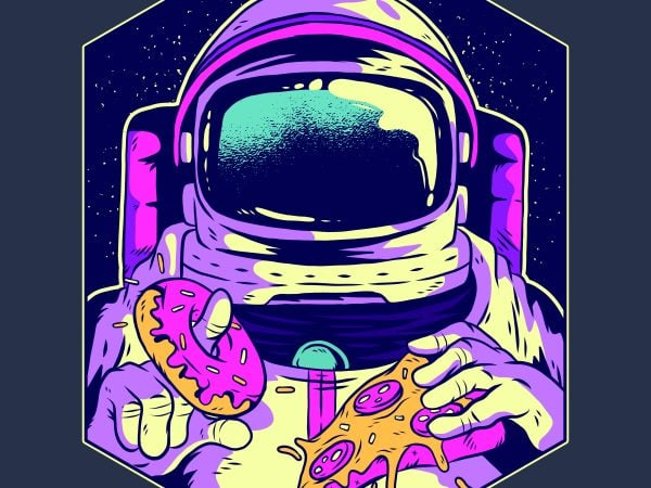 Astronaut eating donut and pizza t shirt vector