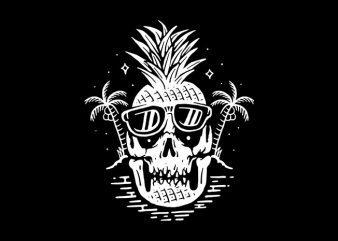 Skull Pineapple t shirt template vector