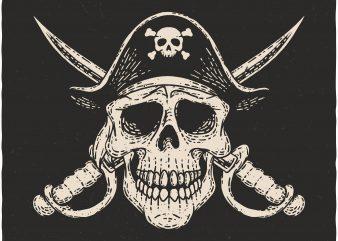 Pirate Skull. Vector T-Shirt Design