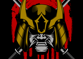 Ronin samurai head helmet vector illustration print ready shirt design