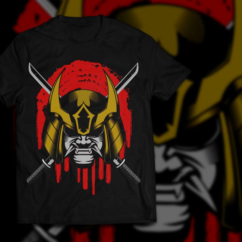 Ronin samurai head helmet vector illustration tshirt factory