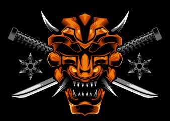 Samurai mask cross knife vector illustration buy t shirt design