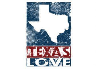 texas love Vector t-shirt design
