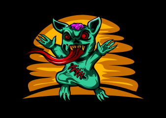 Zombie Cat t shirt design for purchase
