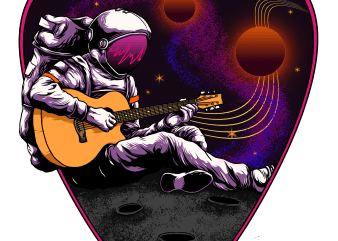 alone at space print ready t shirt design