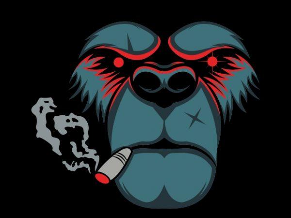 bear smoke print ready vector t shirt design