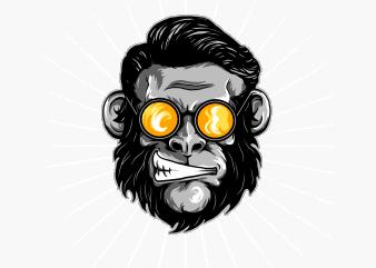 crazy monkey t shirt vector file