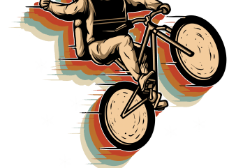cycling in space t shirt vector file