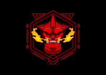 devil head sacred geometry print ready vector t shirt design