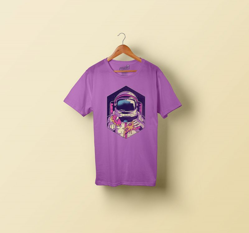Astronaut eating donut and pizza t shirt designs for printful