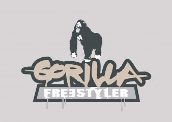Gorilla Freestyler vector t shirt design for download