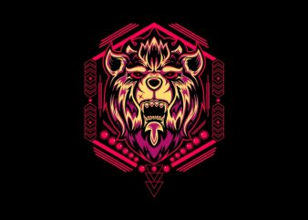 lion head sacred geometry t shirt vector graphic