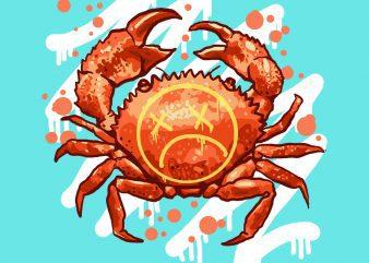 sad crab tshirt design