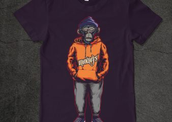 monkey hoodie t shirt designs for sale