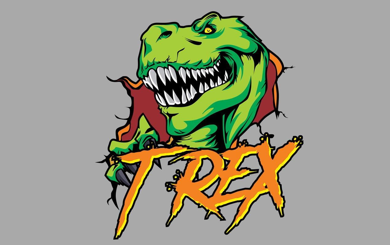 Trex Jurrasic t shirt designs for sale