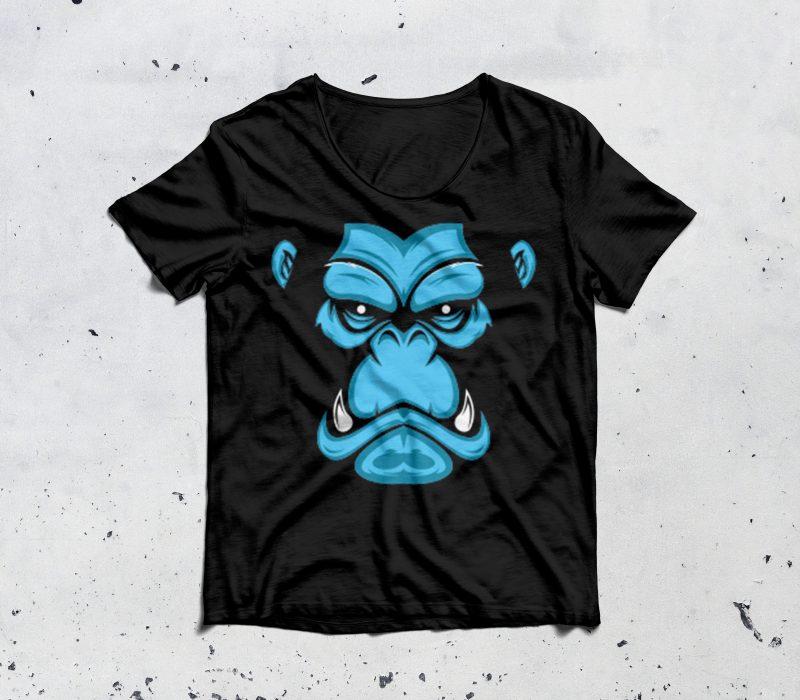 gorilla avatar skin t shirt designs for sale