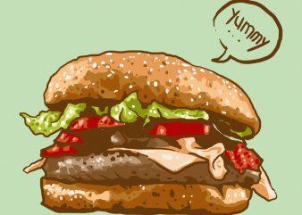 yummy burger tshirt design