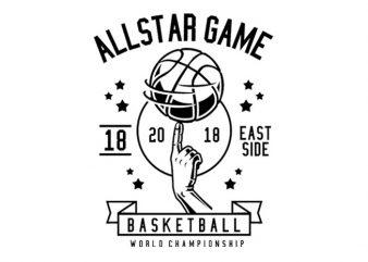 All Star Basketball Tshirt Design