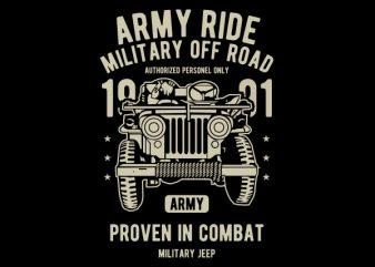 Army Ride Vector t-shirt design