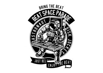 Astronaut Disk Jockey t shirt vector
