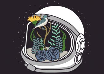 Astronaut Flowers Tshirt Design